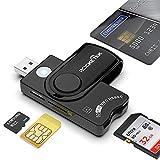 Rocketek Smart Card + SD + TF + SIM Card 4 in 1 Lettore di schede Multifunzione, USB A Dod Lettore di schede di Memoria CAC Militare, per Micro SD/Micro SDHC/Micro SDXC, SD/SDHC/SDXC, MMC RS e 4.0