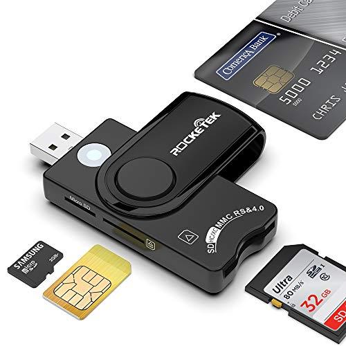 Rocketek Smart Card + SD + TF + Tarjeta SIM Lector de tarjetas multifunción 4 en 1, USB A DOD Lector de tarjetas de memoria militar CAC, para Micro SD/Micro SDHC/Micro SDXC, SD/SDHC/SDXC, MMC RS y 4.0