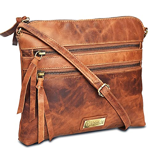 Genuine Leather Crossbody Handbag for Women - Shoulder bag for Womens Handmade by LEVOGUE (COGNAC VINTAGE)