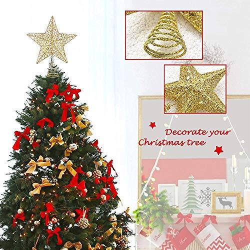 Popglory 12*13cm Estrella para Arbol de Navidad, Decoraciones de Navidad Purpurina, Adornos Brillante Árbol Navidad, Navidad Decoración Casa, Decoracion Hogar para Fiesta y Festival