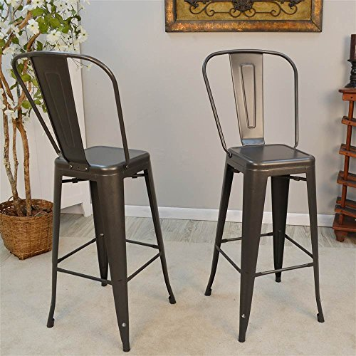 Carolina Cottage Barstool in Rustic Pewter Finish - Set of 2
