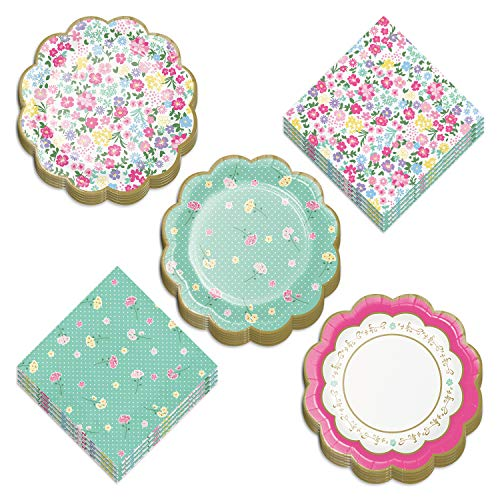 Tea Party Supplies - Floral Scalloped Paper Dessert Plates and Luncheon Napkins for Girls Birthday Party or Bridal Shower (Serves 16)
