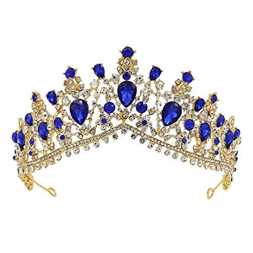 Amosfun Corona de novia barroca reina cristal rhinestone europeo vintage princesa corona...