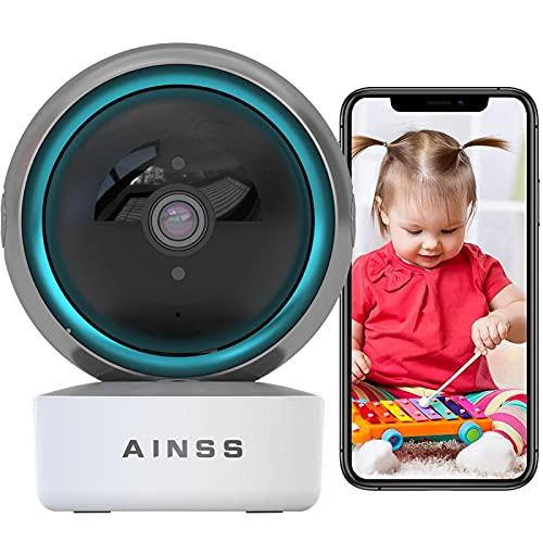 Cámara de Seguridad WiFi Baby Monitor Compatible con Alexa 1080P HD Cámara de Vigilancia WiFi Interior,Alarma APP Seguimiento Automático Audio Bidireccional,iOS/Android,Vision Nocturna HD 【Cámara+32G】
