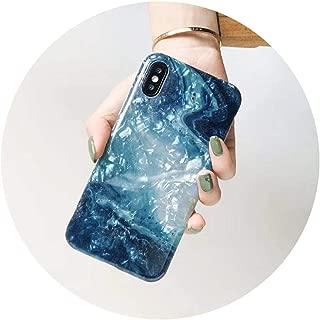 大卖ファッションFritillariaアゲート水彩大理石ケースfor iphone6 6 s 7 8プラスfor iphoneX XS XR最大カバー用シェルソフト巻き貝ケース,for iphone 8 plus,Blue