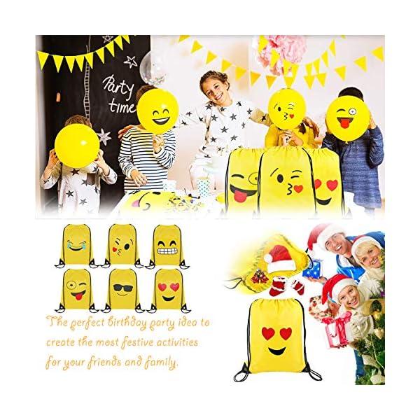 51wsZa1ErlL. SS600  - Emoji Bolsas de Cuerdas BESTZY 6PCS Mochilas Petate Emoticonos Emoji Mochilas Petates Infantiles Bolsas Regalo Cumpleaños Deporte Gimnasio Backpack