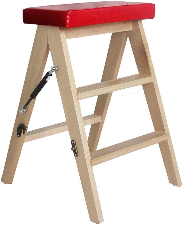ACZZ Tritthocker Small schwarz für Kinder, Mehrzweck Klappleitersitz für Küche Schlafzimmer Wohnzimmer,rot