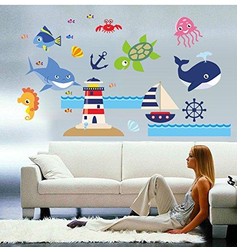 Kibi Fische Abenteuer Auf See Meerestiere Wandtattoo Fische Wandsticker Kinderzimmer Fische Meer Wandaufkleber Kinderzimmer Fische Maritim Wohnzimmer Schlafzimmer Badezimmer