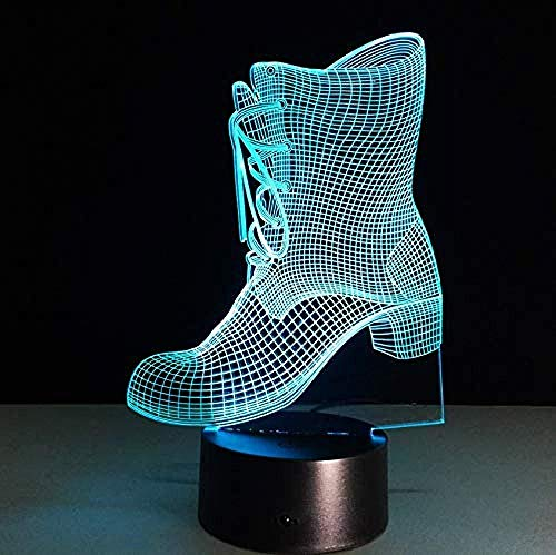 Presentatie van Dias in 3D nachtlampje, laarzen vorm met nachtlampje, 3D-cadeau, kleurverandering, nachtlampje, hoofdlamp voor kinderen met accu, nachtlampje, boot