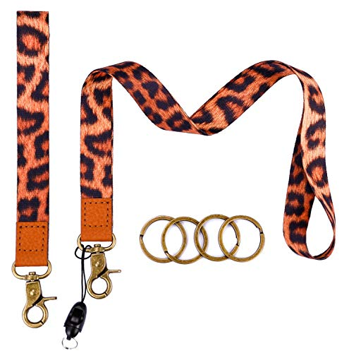 Cool Lanyards Key Chain Holder Wrist Lanyard Badge Holder Lanyard Key Chain Keyring Neck Straps Lanyard Premium Quality Wristlet Strap Cool Neck Lanyard (Leopard)