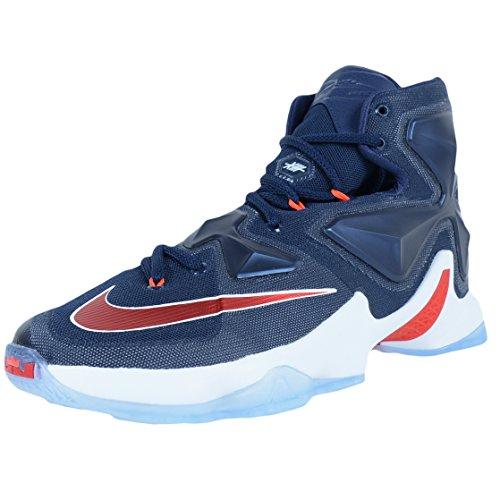 Nike Herren Lebron XIII Basketballschuhe, Marineblau/Rot/Weiß (Mid NVY Unvrsty Rd White Brght), 44.5 EU
