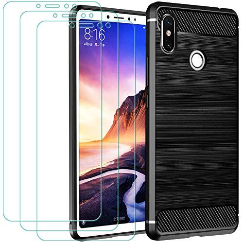 ivoler Funda para Xiaomi Mi MAX 3 + 3 Unidades Cristal Templado, Fibra de Carbono Negro TPU Suave de Silicona [Carcasa + Vidrio Templado] Ultra Fina Caso y Protector de Pantalla