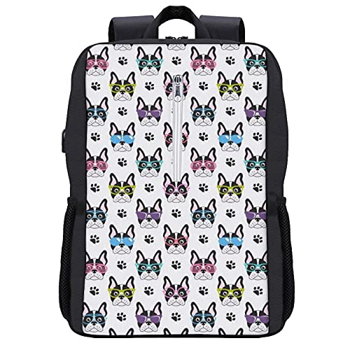 Boys Grils Daypack Back To School - Funny Glasses Pet Dogs Paw Print French Bulldog White Bookbag College School Bookbag Travel Hiking Bag & Day Pack, Gym Outdoor Hiking Bag Laptop Backpack Daypack