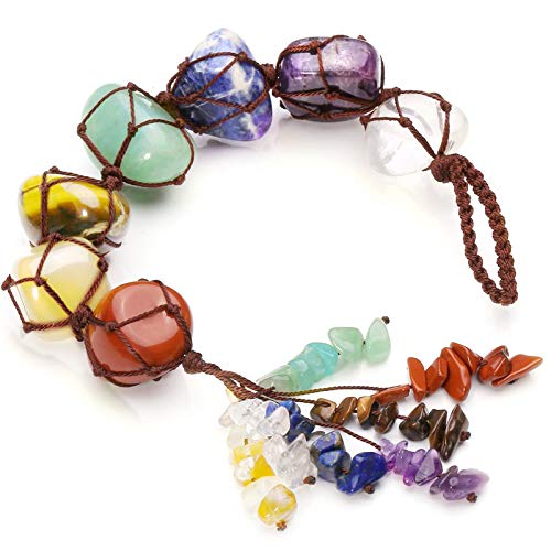 7 Chakra Gemstones Reiki Healing Crystals, Car Hanging Ornament Home Decoration, Spiritual Meditation Hanging Ornament/Window Decoration/Feng Shui for Good Luck,Yoga Meditation