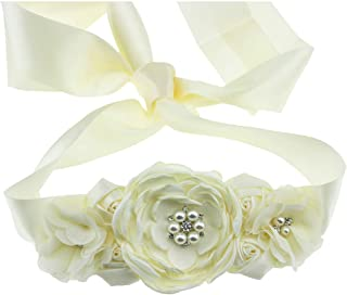 Lauthen.S Maternity Pregnancy Flower Sash Belt, Floral Pearls Sash for Baby Gender Reveal Party/Baby Shower