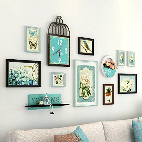 AILI Portfolio de Mur de Photo, Chambre à Coucher de Salon avec Le Cadre créatif d'horloge de Mur, Haut à Travers Le Miroir en Verre (Color : Blue+Black)