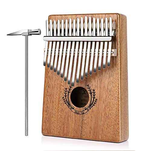 Flexzion Kalimba 17 Keys Thumb Piano, Mbira 17 Tone Finger Piano Portable African Musical Instrument with Musical Scorebook/Learning Booklet, Tune Hammer, Storage Carrying Bag (17 Key Tines)