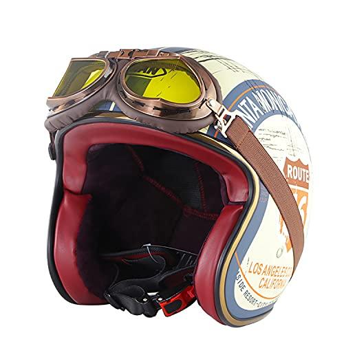 ZXJJD Cascos Jet Vintage, Casco de Moto de Cara semiabierta con Gafas de Aviador Casco de Motociclista de piloto Vintage Certificado por Dot de Crucero, Casco de Scooter con Visera Solar XL