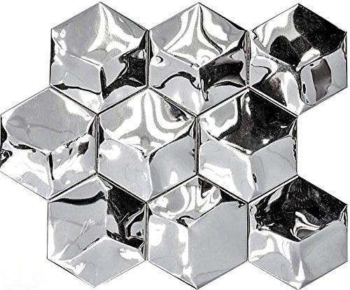 Mosaik Fliese Edelstahl silber Hexagon 3D Stahl gebürstet für WAND BAD WC KÜCHE FLIESENSPIEGEL THEKENVERKLEIDUNG BADEWANNENVERKLEIDUNG Mosaikmatte Mosaikplatte