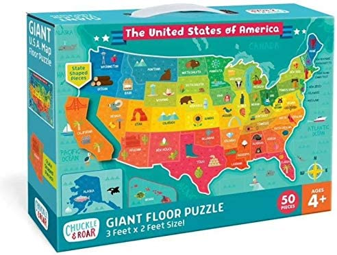 Chuckle Roar Giant Floor Puzzle US - Map Ranking Columbus Mall integrated 1st place 50pc