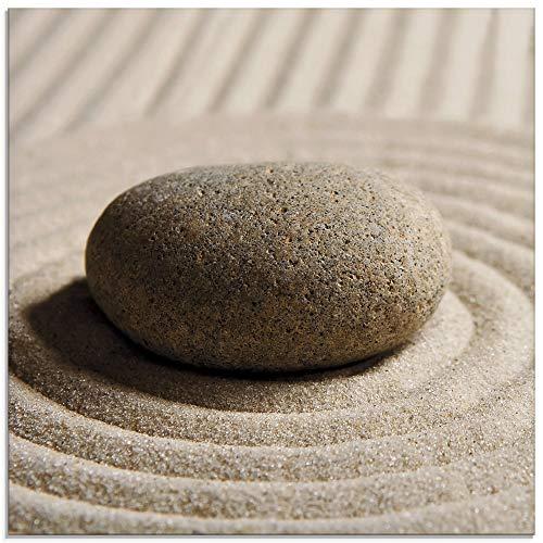 Artland Glasbilder Wandbild Glas Bild einteilig 20x20 cm Quadratisch Wellness Zen Sand Entspannung Steine Maritim S6RW