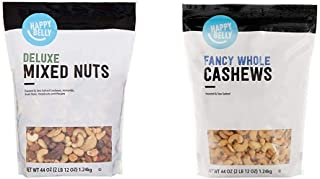 Amazon Brand - Happy Belly Deluxe Mixed Nuts, 44 Ounce & Happy Belly Fancy Whole Cashews, 44 Ounce