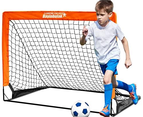 BAYINBULAK Porta da Calcio Pop-up Porta da Calcio Cortile per Bambini Minio 4' x 3', 1 (Arancia)
