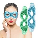 Ruzzut Cooling Gel Eye Mask with Eye Holes, 2 PCS Gel Bead Cold Eye Packs For Puffy Eyes & Swelling, Reusable Hot Cold Therapy Compress Heat Ice Gel Pack, Green and Blue