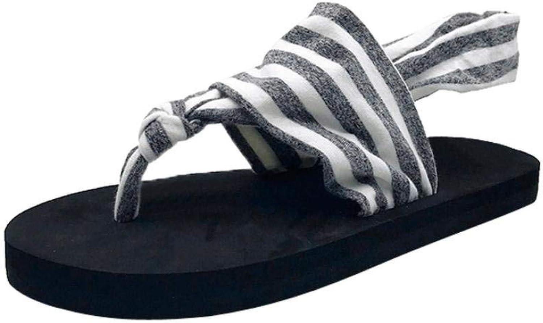 JaHGDU Fashion Women Artificial PU Sandals Summer Boom Flip Flops shoes Wedges Weave Middle Heel Stripe Lace Up Sandals for Women