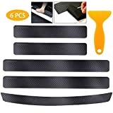 Car Sill Protector, HQCM 4 Pcs 4D Carbon Fiber Car Stickers 1 Pcs Rear Bumper Ptotector Strip Door Scratch Strip Anti Scratch Door sill Bumper Protector Film with Strong Adhesive for Any Car SUV