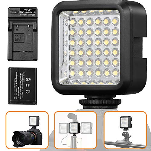 SUPON 36 Video LED Light, Ultra-Bright Continuous Lighting on-Camera Panel with Rechargeable Battery and Charger for Canon Nikon Sony Olympus Pentax DSLR Cameras Camcorder Studio Outdoor Photography