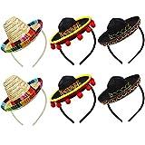 Yzpacc Juego de 6 sombreros de paja Cinco De Mayo para fiestas de tela con flecos de bola para decoración de fiestas, día de muertos, decoración de temática mexicana y recuerdos de fiesta