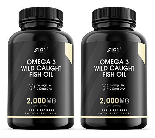 Wild Caught Omega 3 Fish Oil - 2000mg - 360mg EPA 240mg DHA - 240 Softgels - No Additives — Non-GMO, Gluten Free. (2 Pack)