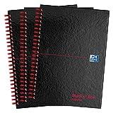 Oxford Black n' Red, Cuaderno A5 de tapa dura, reciclado, brillante, encuadernado, 3 unidades