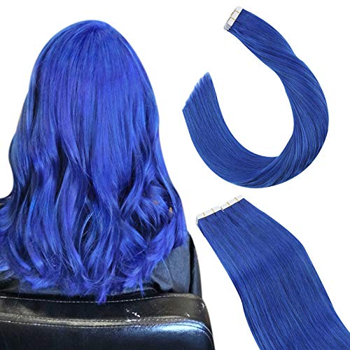 Ugeat Extension Adesive Capelli Veri 60cm Tape Extension Biadesivo Capelli Veri Colore Blu Tape in Human Hair Extensions Biadesive 2.5G/PC Totale 10PCS Extension Biadesive Capelli Veri