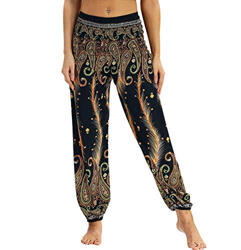 Pantalones Harem Mujer Aladino Hippies Baggy Boho Pantalon Yoga Jogger Flojo Pantalón Harén Estampados Harem Pants Arabes Elasticos Deporte Verano Ancha Sueltos Largos Fluido Deportivos Colore