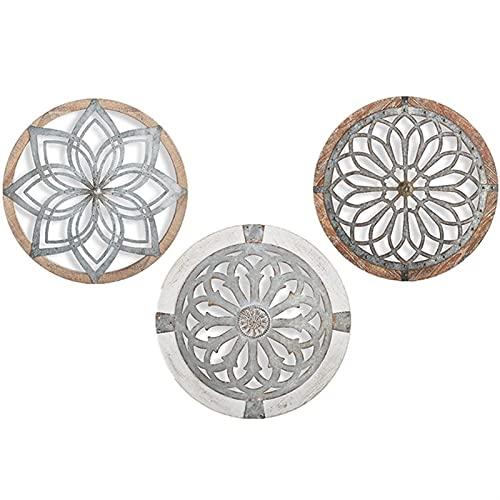 Medallones de Pared Decorativos de Metal de Arte de Pared Redonda, Arte de Pared Redondo de Patrimonio, Hogar, Dormitorio, Sala de Estar, Regalos de Decoración de Pared Al Aire Libre (Color : A+B+C)