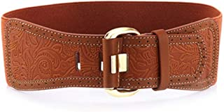 Women's Belt Wide Elastic Waistband Lady Carved Female All-Match Belt (Color : Brown)