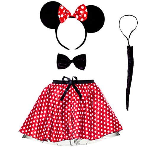 Disfraz de ratn para adultos diadema orejas y tut falda traje rojo para mujer