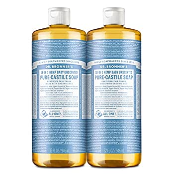 Dr Bronner's - Pure-Castile Liquid Soap  Baby Unscented 32 ounce 2-Pack  - Made with Organic Oils 18-in-1 Uses  Face Hair Laundry and Dishes For Sensitive Skin and Babies No Added Fragrance