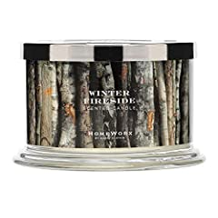 Winter Fireside HomeWorx by Harry Slatkin 4 wick candle – Our 4 wick fragranced candle fills your entire home with the finest luxury ambience. Fragrance Notes: Sultry Incense, Smoked Firewood, Rich Clove Buds HomeWorx masterfully blended oils for a l...