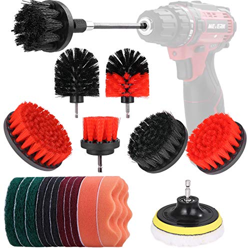 Drill Brush Attachment 21 Pcs Set, Meterk Drill Brushes for Cleaning, Power Scrubber/Polishing Sponge/Drill Brushes Kit with Extend Rod for Tiles, Sinks, Floor, Bathtub, Bathroom, Kitchen, Vehicle