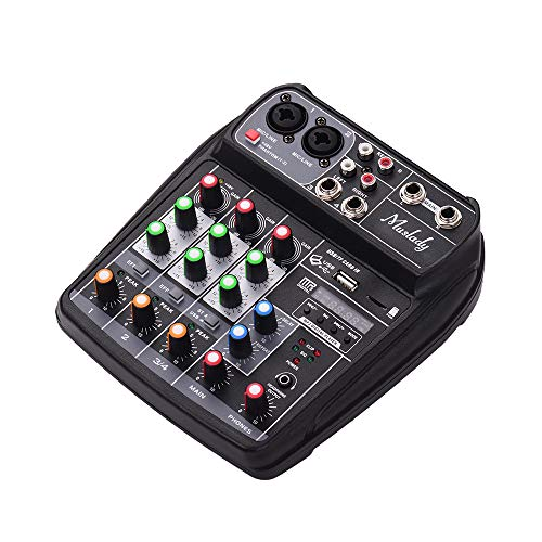 HM2 4 Kanäle Sound Mixing Console Nehmen 48V Phantom Power Monitor AUX Paths Effekte Audio-Mixer mit BT USB für Musikaufzeichnung,Schwarz
