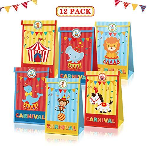 12 Stück Zirkus Tiere Papier Geschenktüten, Partytüten Süssigkeiten Beutel mit 18 Aufkleber für Festival, Geburtstag, Hochzeit, Weihnachten
