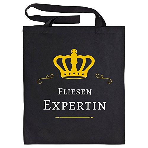 Katoenen tas tegels expert zwart - grappig grappig spreuken party boodschappentas