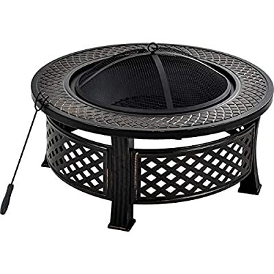 PovKeever Outdoor fire pit, big round fire bowl, garden patio heater, BBQ grill, natural rusted metal brazier with poker, grate, mesh cover, ?81cm from PovKeever