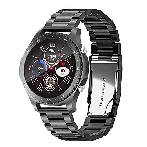 Reloj Inteligente Deportivo al Aire Libre para Hombres, Relojes Deportivos Impermeables Bluetooth con Pantalla táctil de 1,28 Pulgadas con frecuencia cardíaca Smartwatch Correa de Acero (Black)