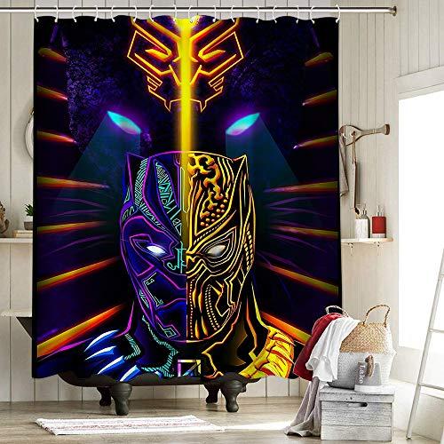 Black Panther Chadwick Boseman Duschvorhang aus Stoff, Badezimmer-Dekor-Set mit Haken, Superheld, Infinity War, Avengers, Comic, King Bast Goddess, 183 x 183 cm