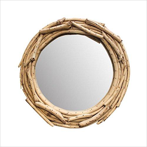 QARYYQ spiegel 400 x 400 mm badkamer wandbehang rond grote houten frame make-up spiegelkast wandspiegel