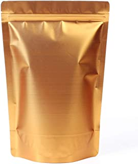 WRAPOK Zip Lock Stand Up Pouches Aluminum Foil Coffee Bags Large Reusable Golden Bag for Food Storage, 7.5 x 11.4 Inch, 16oz, Pack of 25